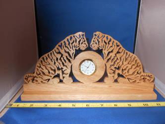 double tiger clock by scrollsawbear