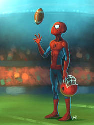 Spider-man on a football field by kmichaelrussell