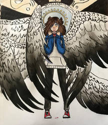 Icarus is flying too close to the sun by Bluedrawingmachine