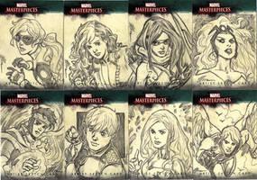 Marvel Sketch Cards Group 1 by artbytravis