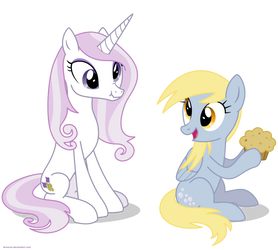 Fleur the posing pony and Derpy - PNG by Larsurus
