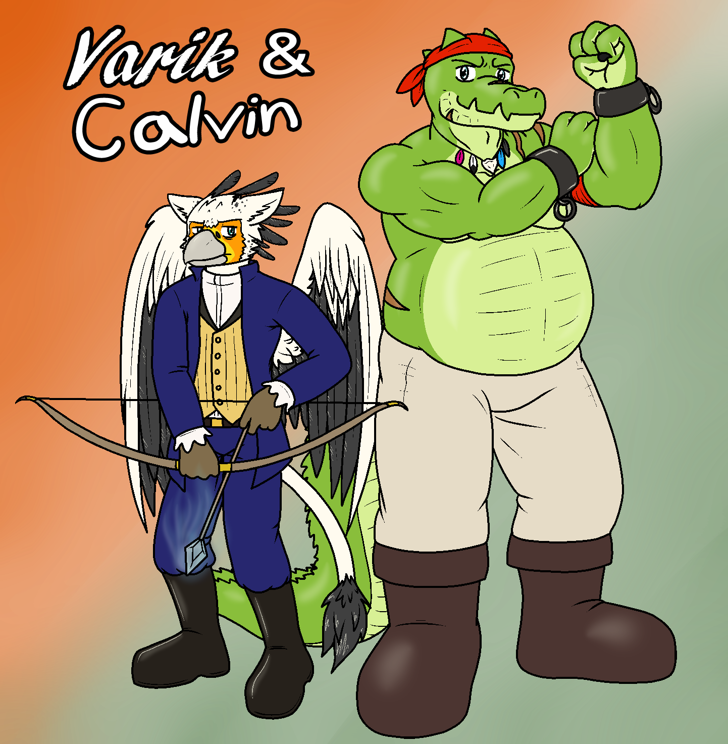 Varik and Calvin (2015 B-Day Gift for Immy) by QuetzaDrake