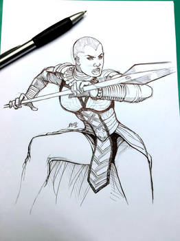 Okoye - Black Panther sketch by Magnafires