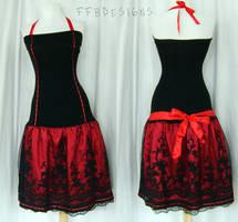 Long red dress by funkyfunnybone