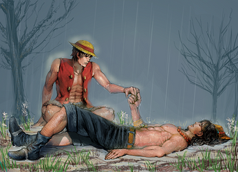 Luffy and Portgas D. Ace Request for Mel by xamxam