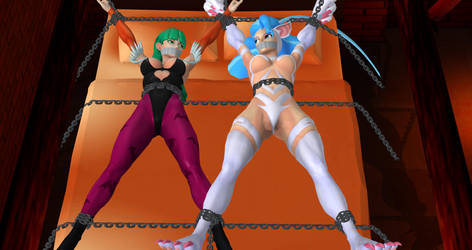 Morrigan and Felicia Bed Chained by Judith98