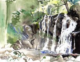 traveling sketchbook - prapsou's waterfall by Pendalune