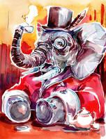Commission - Elephant's tea by Pendalune