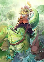 Crocodile rider by Pendalune