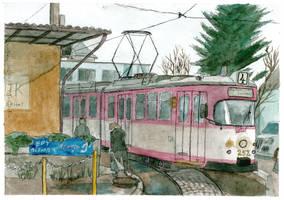 Tram leaving railway station by mikopol