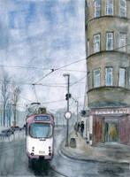 City under sad rainy sky by mikopol