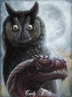 Owl,dragon and Moon by CindyWorks