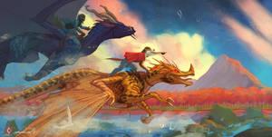 Dragon riders ych by CindyWorks
