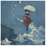 Paper Boats in rain by kapie1571993