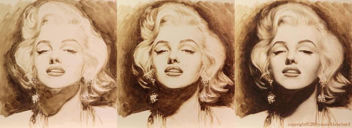 Marilyn  portrait WIP by YannickBouchard