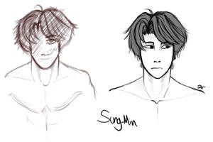 Sung-Min OC Sketches by ABlackOrange
