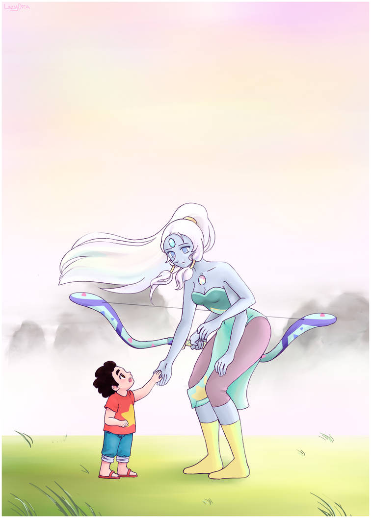 Opal is my favorite fusion. I always want to cosplay her but that's waaaay out of my league. OTL  Drawing Steven was kind of hard because he's tiny in this picture, and he's a chubby kid...