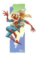 Spidey and MJ Happy Print by MicahJGunnell