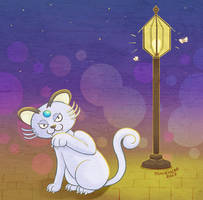 Alolan Persian at night by musogato