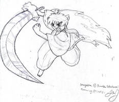 Inuyasha in Action by HuntressGuya