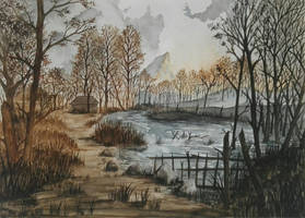 Velen - Witcher 3 watercolor landscape   by SilvanaSobral