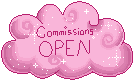 Pink Cloud Status Stamp: Commissions Open by frostykat13