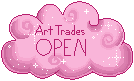 Pink Cloud Status Stamp: Art Trades Open by frostykat13