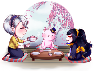 Tea Time with Monolly by MustacheSkulls