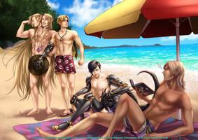 The gang at the beach by LaraYokoshima