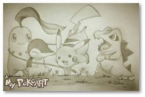 Johto Starters with Pikachu by mypokeart