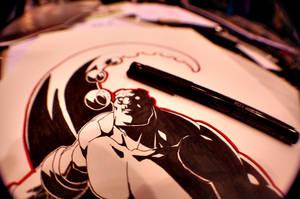 Hellboy Sketch [Armageddon] by HughFreeman