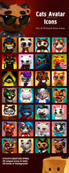 Cats Avatar Icons by GraphicAssets