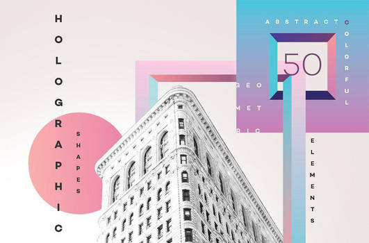 50 Holographic Shapes by GraphicAssets