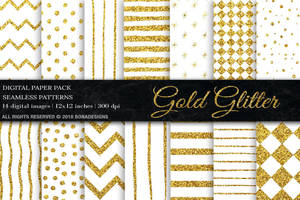 Gold Glitter Digital Paper by GraphicAssets