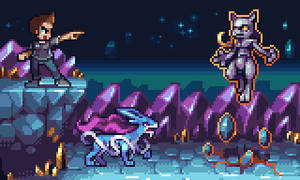 Suicune vs Mewtwo by AlbertoV