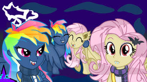 MLP- EG Evil Pie Hater RD And FlutterBat (W/BG) by YayCelestia0331