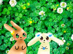 Clover bunnies (drawing over a photo) by RainbowIcePop