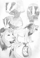 Badgers and Lions by SilverPyroLupogryph