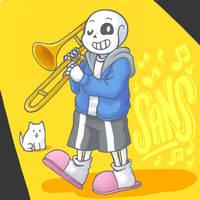 Undertale: Sans playing trombone by MimiChan25