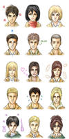Attack on Titan characters by Asenath23