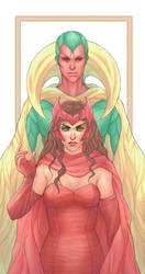 The Vision and Scarlet Witch by Asenath23