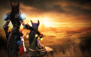 Inarii and Nasaerii Wallpaper - World of Warcraft by ginnypinnyart