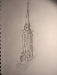 Church tower sketch by RealEz-Art