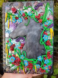 Hand sculpted unicorn silhouette journal  by creativitieskey