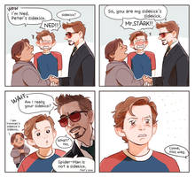 Peter,Ned and Mr.Stark by Hallpen