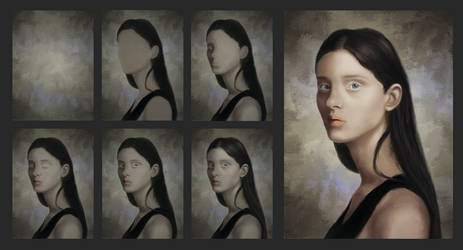 A drop of blue - digital portrait #2 progress by Starved-Soul