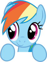Rainbow Dash Peeking Over by craftybrony