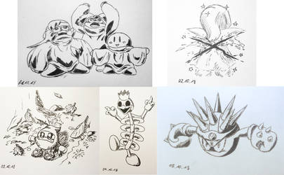 Hoshi no Kaabii Inktober 1-5 by Birdon14