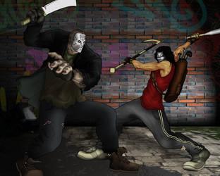 Jason Vorhees vs Casey Jones by gintrax13