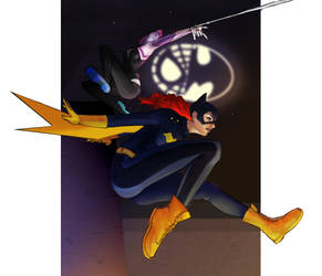 SpiderGwen x Batgirl by gintrax13
